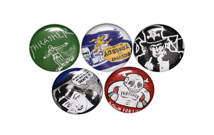 THRASHER Usual-suspects Buttons (5 Pack) (99345)