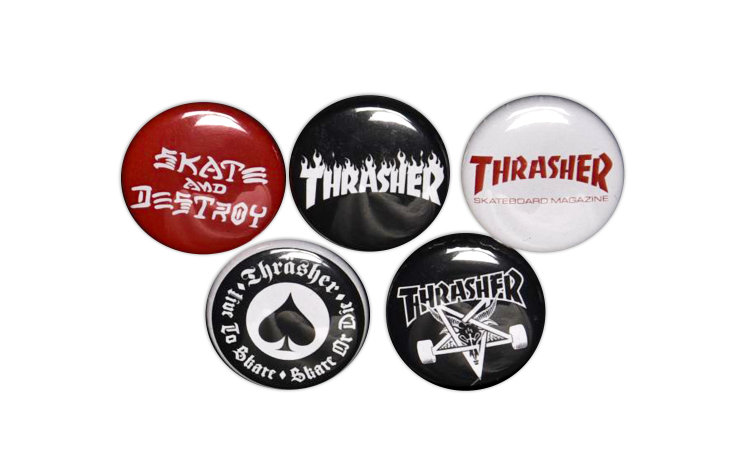 THRASHER Logo-buttons (5 Pack) (99725)